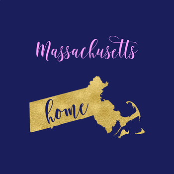 Massachusetts Clipart, USA Vector Clipart, Massachusetts Home, Gold US Clipart