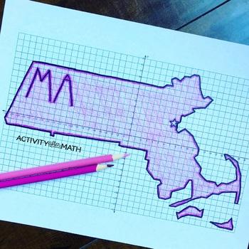 Massachusetts Coordinate Graphing Picture 1st Quadrant & ALL 4 Quadrants