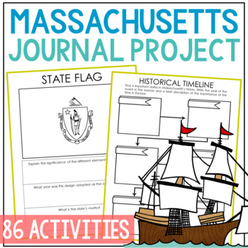 MASSACHUSETTS History Guided Research Project, Notebook Journal Pages {EDITABLE}