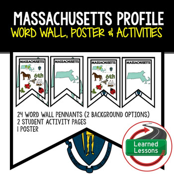 Massachusetts History Word Wall, State Profile, Activity Pages