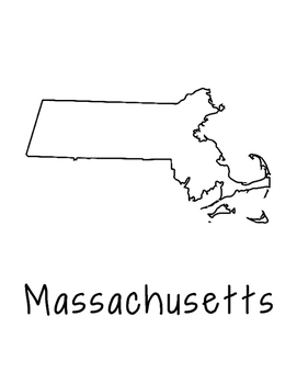 Massachusetts Coloring Page Craft - Lots of Room for Note-Taking & Creativity