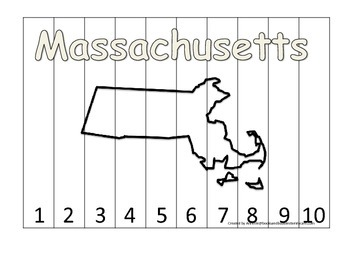 Massachusetts Number Sequence Puzzle.  Learn the States preschool printable game