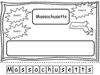 Massachusetts Read it, Build it, Color it Learn the States preschool worksheet.