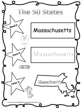 Massachusetts Read it, Trace it, Color it Learn the States preschool worksheeet.