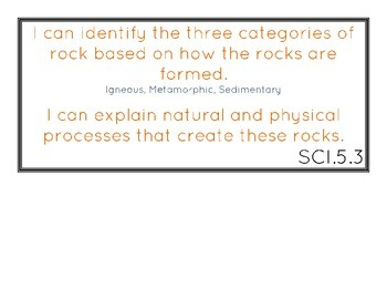 Science Standards 5th Grade I Can Statements