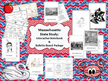 Massachusetts State Study: Interactive Notebook/Bulletin Board Display