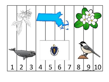 Massachusetts State Symbols themed 1-10 Number Sequence Puzzle Game. Preschool