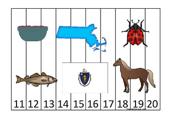Massachusetts State Symbols themed 11-20 Number Sequence Puzzle Game. Preschool
