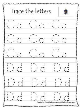 Massachusetts State Symbols themed A-Z Tracing Worksheets. Preschool Handwriting