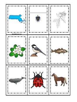 Massachusetts State Symbols themed Memory Match Game. Preschool Game