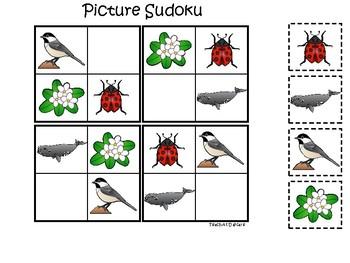 Massachusetts State Symbols themed Picture Sudoku Game. Preschool Game