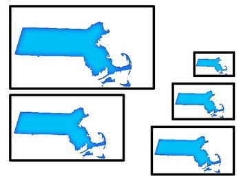 Massachusetts State Symbols themed Size Sequence. Preschool Games. Four Differen