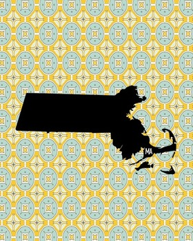 Massachusetts Vintage State Map or Poster Class Decor Decoration