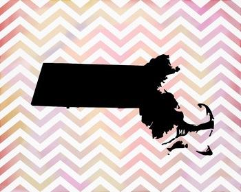 Massachusetts Chevron State Map Class Decor, Government, Geography
