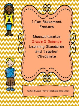 Massachusetts Grade 5 Science Learning Targets in I Can Statement Poster Format