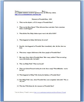Massacre at Wounded Knee Primary Source Worksheet
