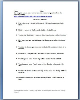 Massacre in Florida Worksheet (The Defeat of the French in Florida)