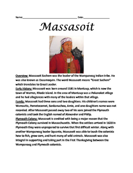 Massasoit life story Wampanoag chief  lesson  questions First Thanksgiving