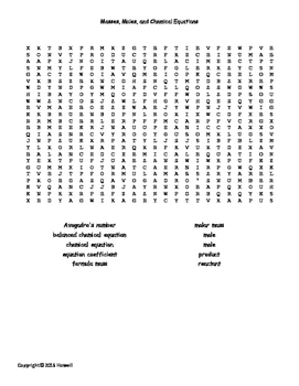 Masses, Moles, and Chemical Equations Word Search for General Chemistry