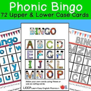 Massive Alphabet Phonic Bingo Set with 72 cards   LEEP Reading
