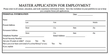 Master Application for Employment to Complete Job Applications