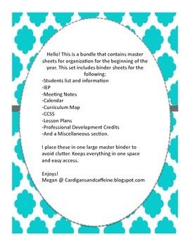 Master Binder Organization Pages
