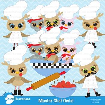 Owl clipart, Owls Clip Art, Master Chef Owls Clipart AMB-362