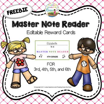 FREE Master Note Reader Reward Cards