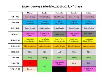 Master Schedule- Editable