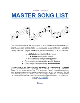Master Song List - ONGOING DATABASE!