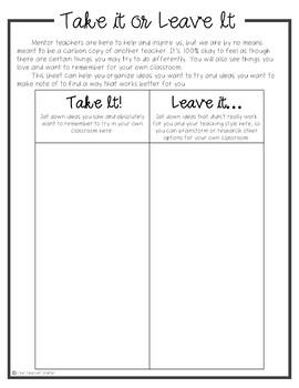 Master Teacher Toolkit & Student Teaching Binder Sheets