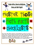Master Those Math Facts Checklists