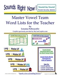 Master Vowel Team Word Lists for the Teacher