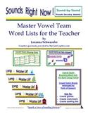 Master Vowel Team Word Lists for the Teacher