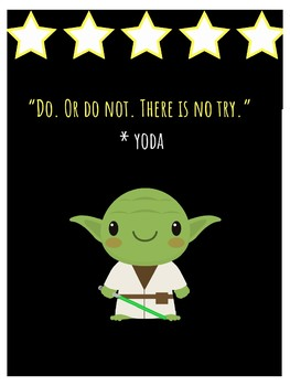 Master Yoda Star Wars Theme Growth Mindset Poster For Classroom Decor