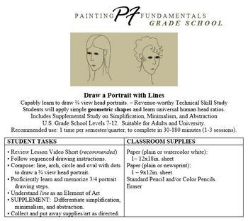 Master and Teach 3/4 View Portrait Line Drawing + Video