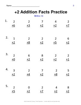 +2 Addition Facts Practice & Assessments
