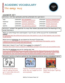 Academic Vocabulary Worksheets (Common Core, Tier 2 words): BUNDLE