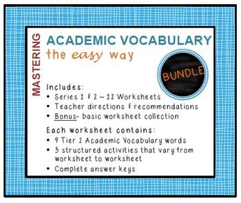 Academic Vocabulary Worksheets (Common Core, Tier 2 words): BUNDLE
