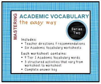 Academic Vocabulary Worksheets (Common Core, Tier 2 words): Series 2