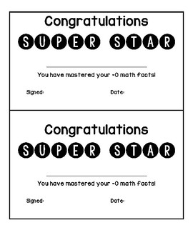 Mastering Basic Math Facts Certificates
