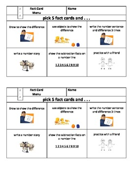 Mastering Basic Math Facts Menu for Subtraction