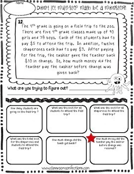 Multi-Step Word Problems: 4th Grade-5th Grade: Math Worksheets