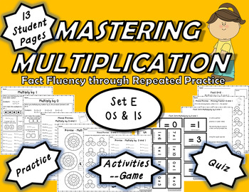Mastering Multiplication: Fact Fluency Through Repeated Practice-Set E 0s & 1s