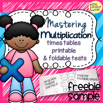 Mastering Multiplication - times tables printable and foldable tests FREE SAMPLE