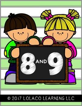 Mastering My Numbers: 8 & 9 TEST Kindergarten Worksheets