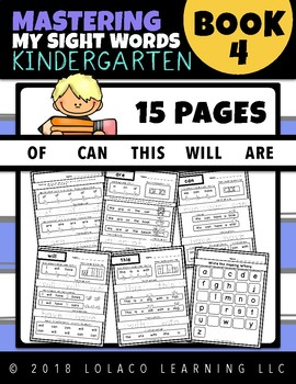 Kindergarten Sight Words: (NO PREP) Book 4