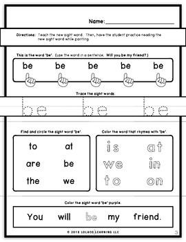 Mastering Sight Words Book 5: Kindergarten Worksheets