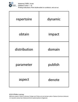 Mastering TOEFL Vocabulary: Definition Flashcards 1-10