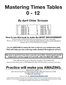 Mastering Times Tables - 0 to 12 practice - 140 practice pages